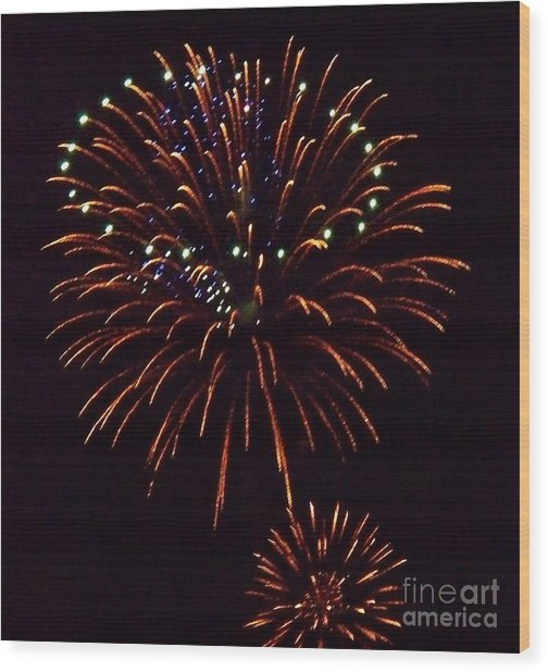 Triple Firework Wood Print by Emily Kelley