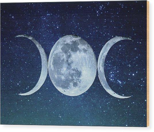 Triple Moon Milkyway Wood Print