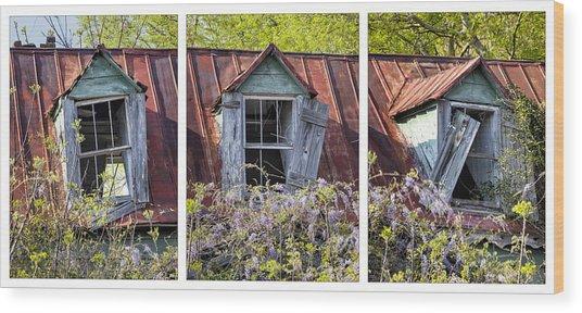 Triptych Windows Wood Print