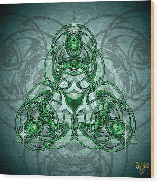 Triskellion Wood Print by Greg Piszko