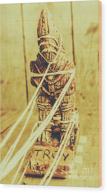 Trojan Horse Wooden Toy Being Pulled By Ropes Wood Print