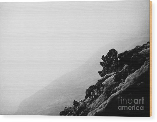 troll face in the volcanic lava field rocks Iceland Wood Print