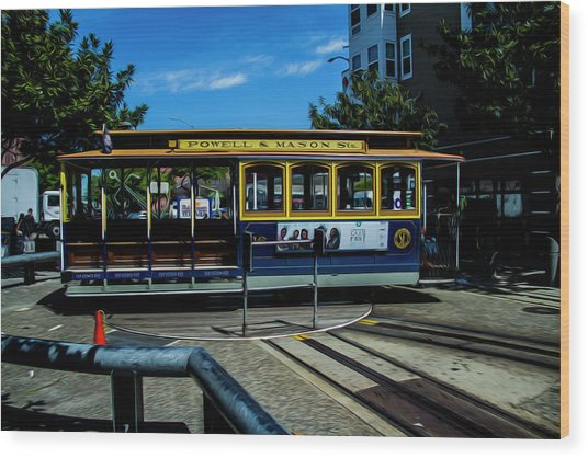 Trolley Car Turn Around Wood Print