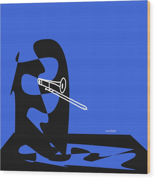 Trombone In Blue Wood Print