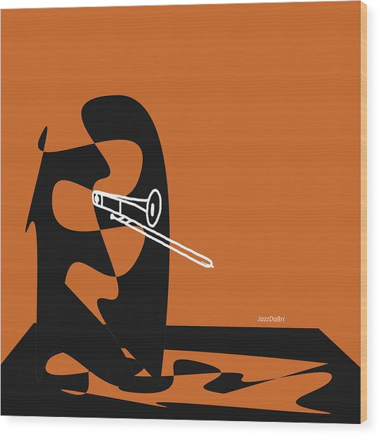 Trombone In Orange Wood Print