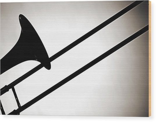 Trombone Silhouette Isolated Wood Print