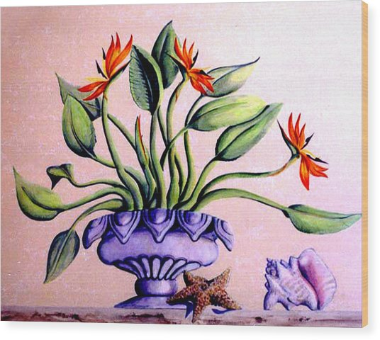 Trompe L'oeil  Birds Of Paradise Wood Print