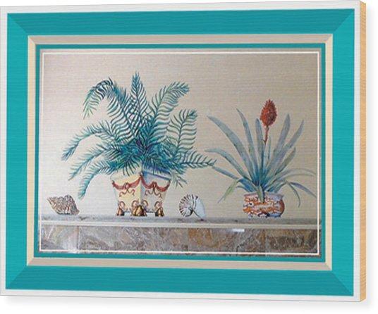 Trompe L'oeil Plants Wood Print