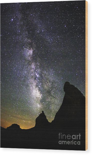 Trona Pinnacles Milky Way Wood Print