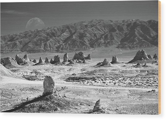 Trona Pinnacles With The Moon Wood Print