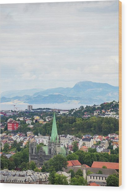 Wood Print featuring the photograph Trondheim, Norway Cityscape by Whitney Leigh Carlson
