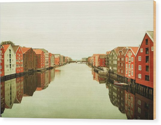 Trondheim On A Rainy Day Wood Print