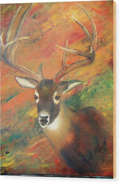 Trophy Deer Wood Print by Lynda McDonald