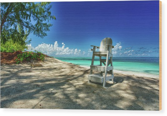 Tropical Beach Chair Wood Print