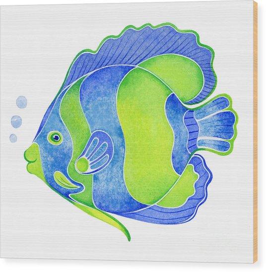 Tropical Blue Angel Fish Wood Print
