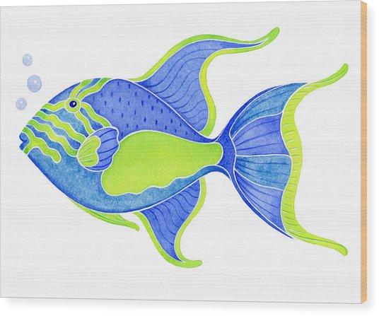 Tropical Blue Triggerfish Wood Print