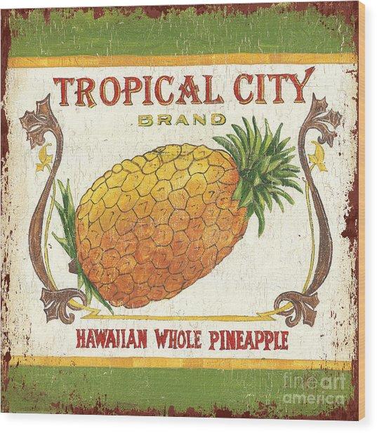 Tropical City Pineapple Wood Print