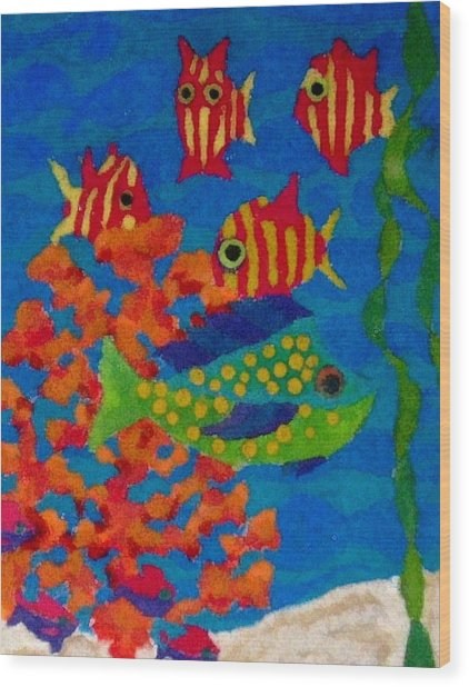 Tropical Fish Wood Print by Jeanette Lindblad