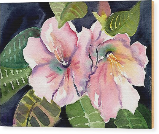 Tropical Flowers Wood Print by Janet Doggett