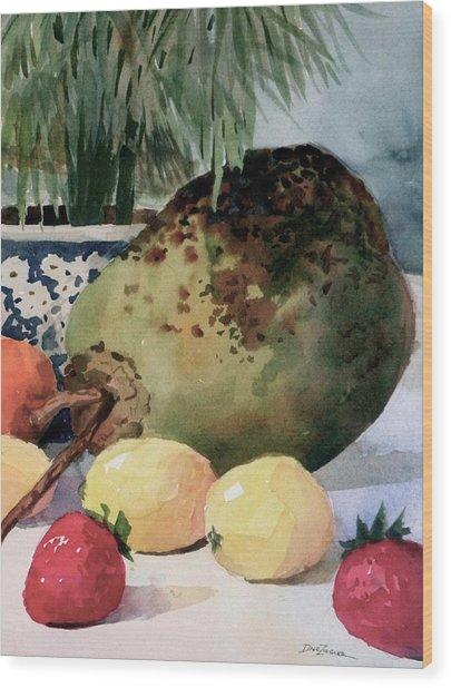 Tropical Fruit Wood Print by Faye Ziegler