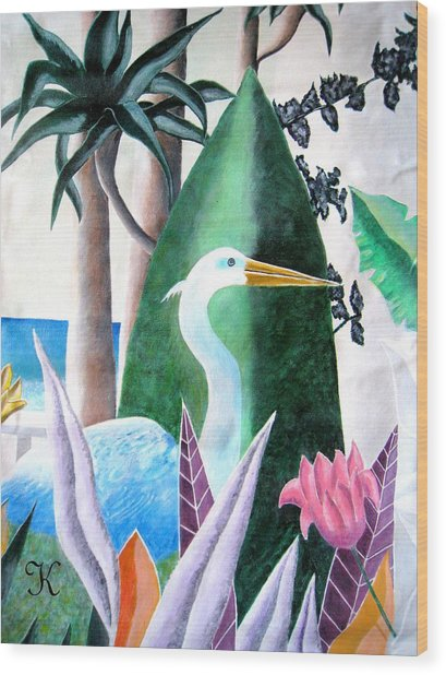 Tropical Goose Wood Print by Roger Golden
