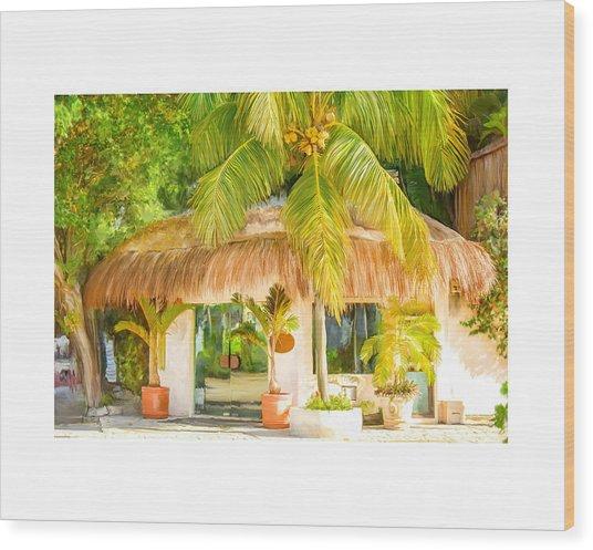 Tropical Hut Wood Print