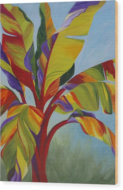 Tropical Mist Wood Print by Karen Dukes