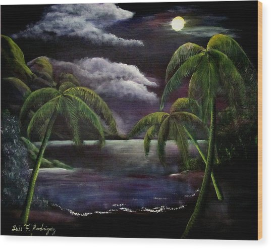 Tropical Moonlight Wood Print