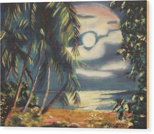 Tropical Nights Wood Print by Suzanne  Marie Leclair