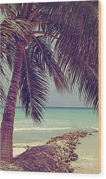 Tropical Ocean View Wood Print