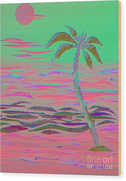 Hot Pink Coconut Palm Wood Print
