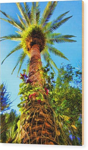 Tropical Palm Tree Painting Wood Print