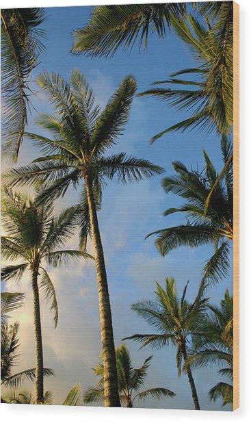 Tropical Palm Trees Of Maui Hawaii Wood Print