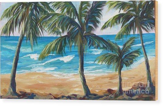 Tropical Palms I Wood Print