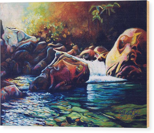 Tropical River Wood Print
