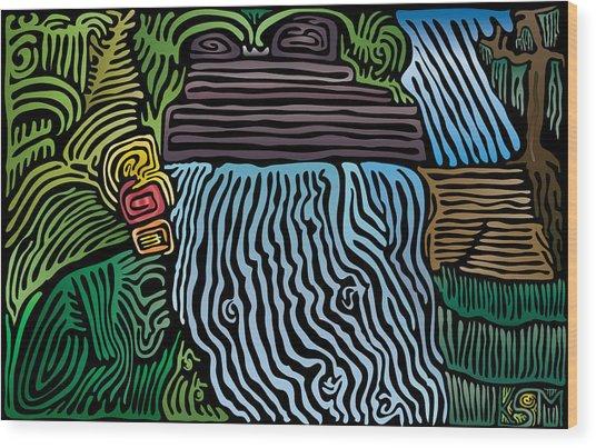Tropical River Wood Print