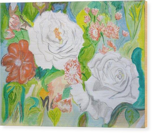 Tropical Rose Wood Print by Cathy Jourdan