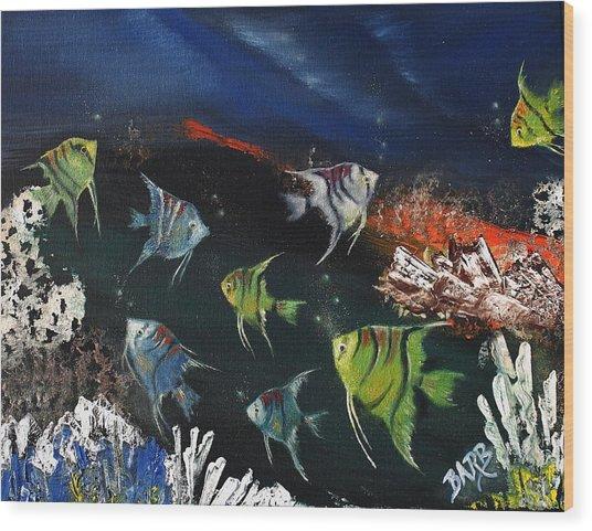Tropical Seaworld Wood Print by Barbara Teller