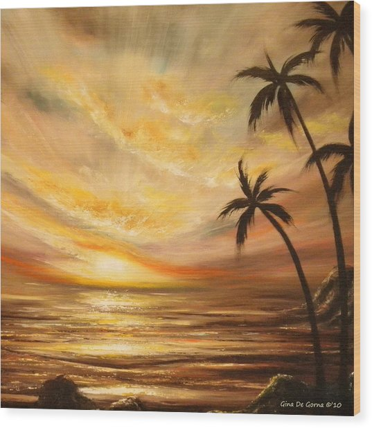 Tropical Sunset 64 Wood Print
