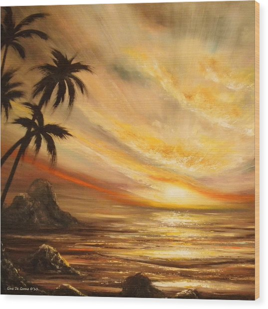 Tropical Sunset 65 Wood Print