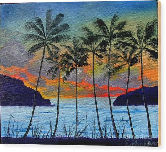 Tropical Sunset Wood Print by Inna Montano