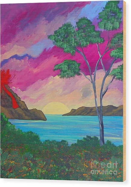 Tropical Volcano Wood Print