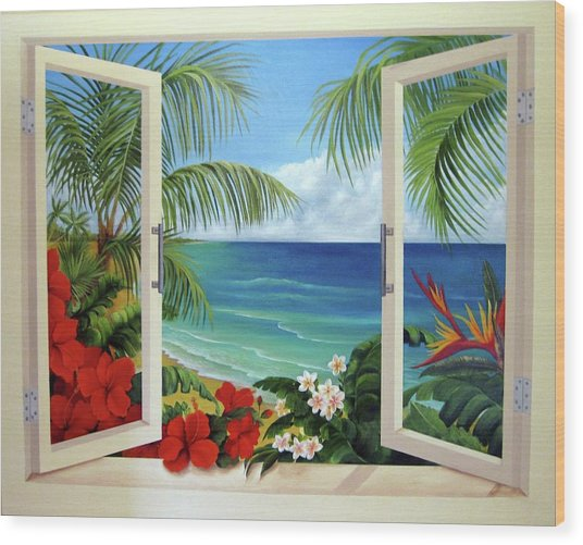 Tropical Window Wood Print