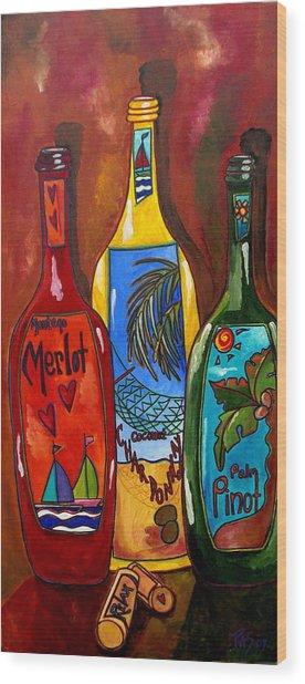 Tropical Wine Wood Print by Patti Schermerhorn