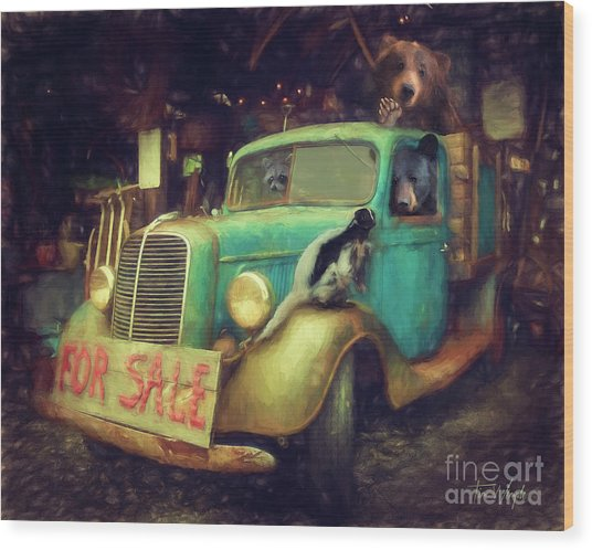 Truck Sale Wood Print by Tim Wemple
