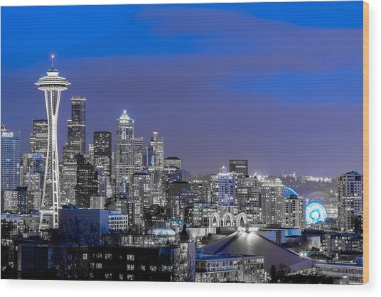 True To The Blue In Seattle Wood Print