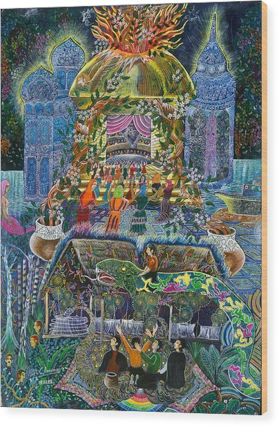 Wood Print featuring the painting Trueno Ayahuasca  by Pablo Amaringo