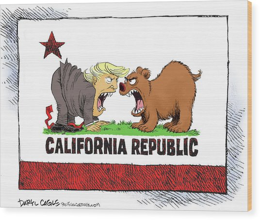 Trump And California Face Off Wood Print