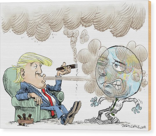 Trump And The World On Climate Wood Print