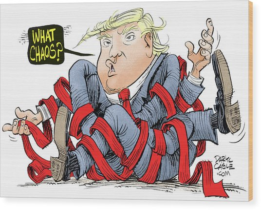 Trump Chaos Wood Print